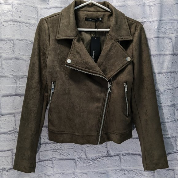 NWT army olive green faux suede moto jacket